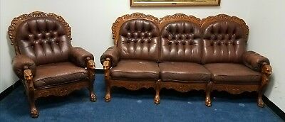 Antique RJ Horner oak sofa couch and chair parlor set leather carved griffins