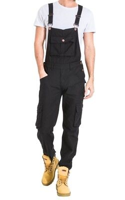 Mens Dungarees Loose Fit Cotton Black Dungarees