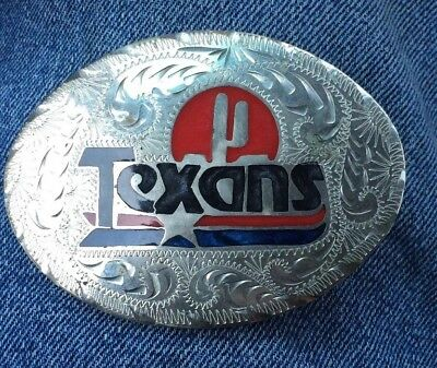 Vintage Hand Made Texans Mother of Pearl  Inlay Western Belt Buckle #11 of 99