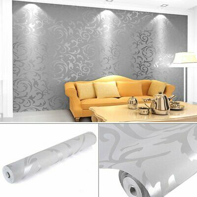 Grey Silver  Luxury Embossed Wall paper 10M Roll Wall Decal Deco Indoor wall