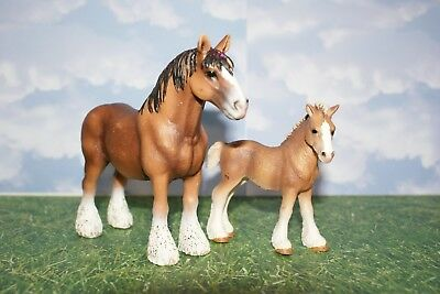 Schleich Clydesdale Stallion Gelding Brown Draft Horse & Foal  Set of Two Pieces