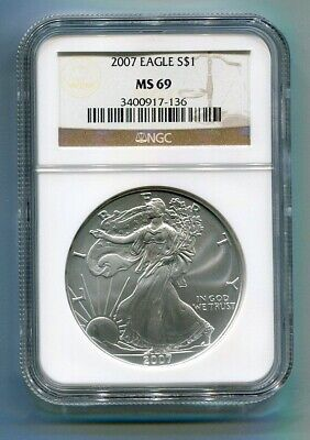 2007 American Silver Eagle Ngc Ms69 Brown Label Premium Quality Nice Coin Pq