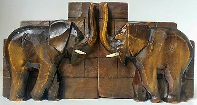 VINTAGE CARVED BLACK FOREST ELEPHANT BOOK ENDS d@cEARLY19th CENTURY ? BEAUTIFULL