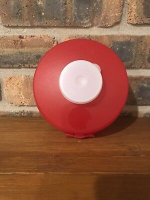 Red Tupperware Bagel Round Sandwich Salad Keeper On The Go Dressing Container