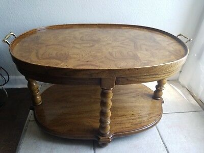 Drexel Heritage Francesca Italian Oval Side Table Br Handles Impeccable
