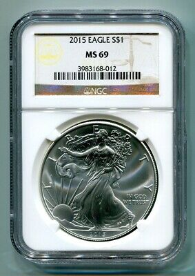 2015 American Silver Eagle Ngc Ms69 Classic Brown Label As Shown Premium Quality