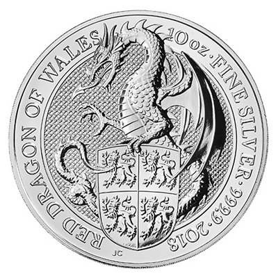 2018 U.K. 10 Pound Silver Queen's Beast The Dragon .9999 10 oz BU in Capsule