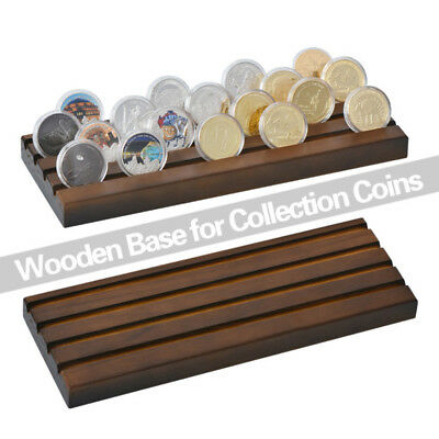 """WR 4 Rows Solid Wood Coin Display Rack Collector Medal Holder 12.9"""" x 4.49"""" Gift"""