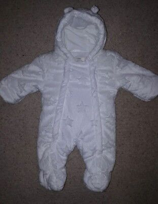 george first size snowsuit coat white unisex boys girls