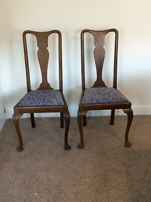 Pair Of Antique Queen Anne Dining Chairs. Perfect upcycle project.