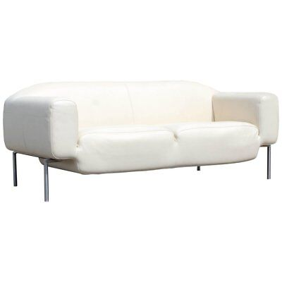 CONTEMPORARY MODERN WHITE Leather Sofa on Steel Frame B&B Minotti Style  Italian
