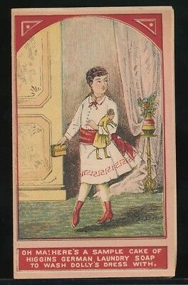 HIGGINS' GERMAN LAUNDRY SOAP BiFold Victorian Trade Card GIRL & DOLLY