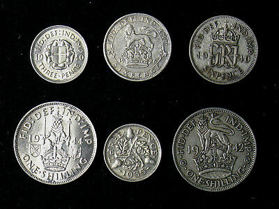 Lot of 6 Great Britain silver coins Three 3, Six 6 Pence, Shilling 1926-1944