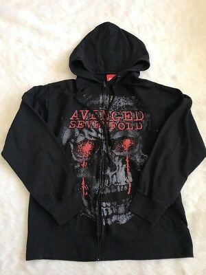 Avenged Sevenfold Band Zip Up Hoodie Size Large