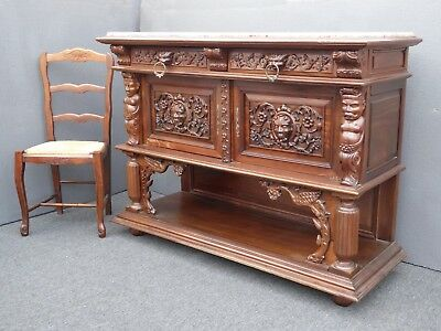 Vintage French Renaissance Ornately Carved Marble Credenza Buffet ~ Indonesian