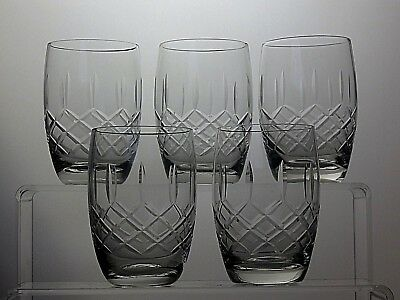 "Cut Glass Crystal Drinking Barrel Tumblers/ Glasses  Set Of 5- 3 3/4"" Tall"