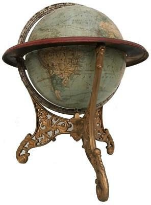 Antique 1875 Joseph J Schedler Terrestrial World Library Globe Iron Table Stand
