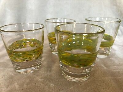Art Glass Hand-Blown 10 oz Drinking Glasses - Set of 4