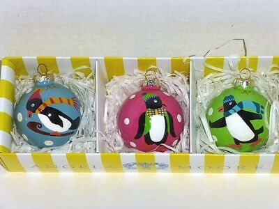 Boxed Set Of 3 Penguin 3-Sided Handpainted Glass Ornaments, By Angela Moore, New