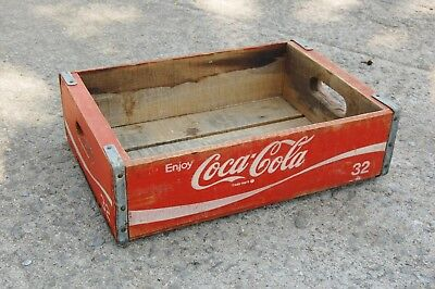 "Coca Cola Crate Wood Box Carrier Red 18""x12""x5"" Vintage Bottle Holder Reinforced"