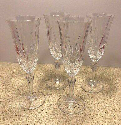 Set of 4 Clear Cut Leaded Crystal Wine Stems Champagne Toasting Flutes
