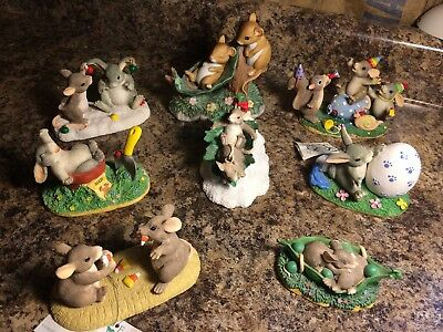 Lot of 8 Bunny and Mice Adorable Figurines ~ Dean Griff Charming Tails & Others