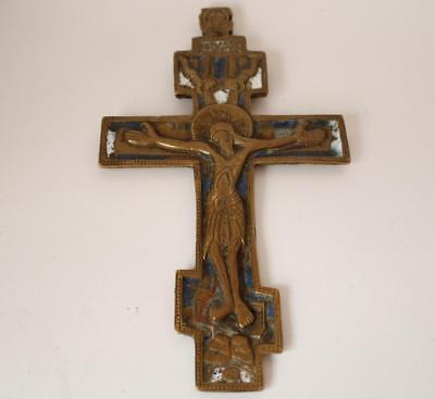 Antique Russian Orthodox Bronze Cross/Cruisifix Traveling Icon Enamel c.1800s