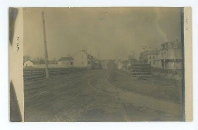 RPPC Trolley Tracks Street View DOVER PA Vintage York County Real Photo Postcard