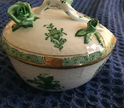 Herend Hungary Hand Painted Heart Shaped Covered Bowl  Chinese Rose Bouquet