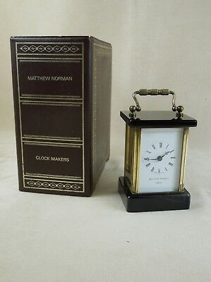 RARE 1970s Matthew Norman Miniature Carriage Clock Black Marble & Brass $700+ RV