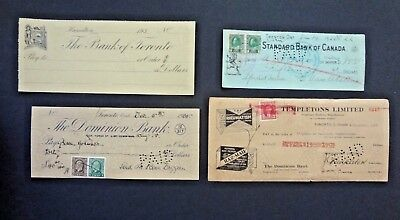 Canada 4 Canadian Cheques; Dominion, Standard, Toronto, Templetons Banks; Stamp