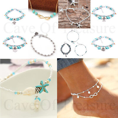 Ankle bracelet 925 Sterling Silver Beach Chain Silver Gold Starfish Beads Foot