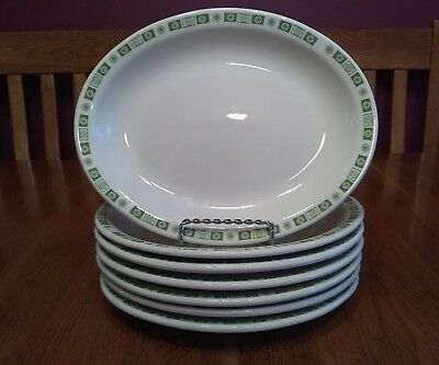 "7 Buffalo China Oakbrooke Restaurant Ware 9"" Oval Platters Green Atomic Star Rim"