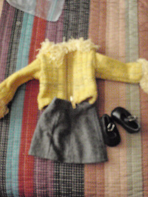 Magic Attic Club outfit yellow sweater, grey skirt  shoes