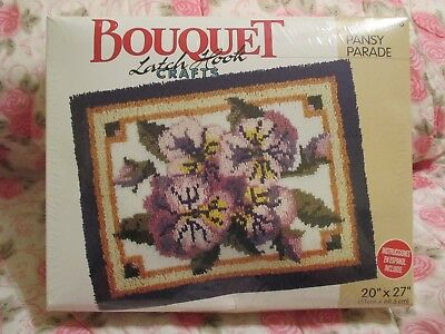 "Bouquet Latch Hook Crafts Rug/ Wall Hanging Kit- Pansy Parade (KT 208) 20"" x 27"""