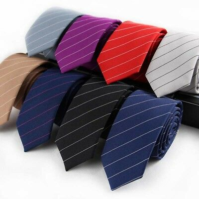 Classic Men's Neck Tie Cotton Striped Skinny Slim Narrow Necktie For Men Suit