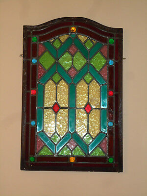 Antique Vintage Stained Glass Window Multi-Color