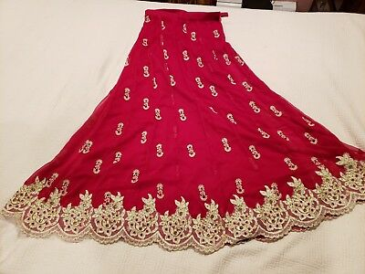 Pakistani Eid special girls 3 pc lahanga choli, red / golden, embroidery, stones