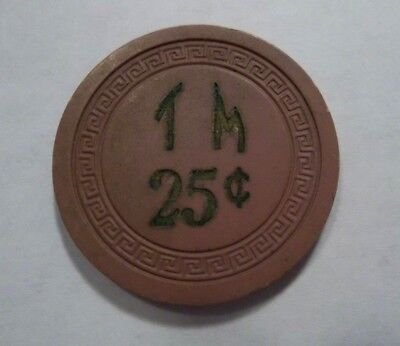 TM Casino Poker Chip Great Old Gambling Chip 25 cent illegal small key