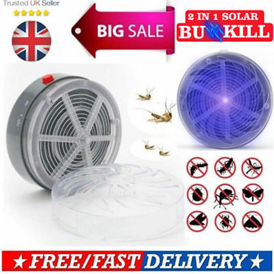 Solar Powered Buzz Lamp Travel Fly Insect Bug Mosquito Kill Zapper Killer Light