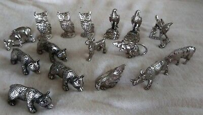Vintage Lot of 16 Small Pewter? Animals