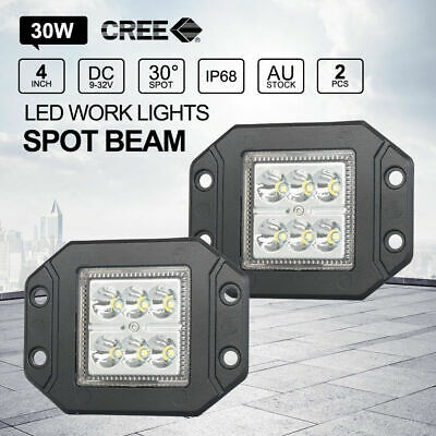 Pair 4 inch CREE 30W SPOT LED Work Lights FLUSH MOUNT 12V 24V Reverse Truck