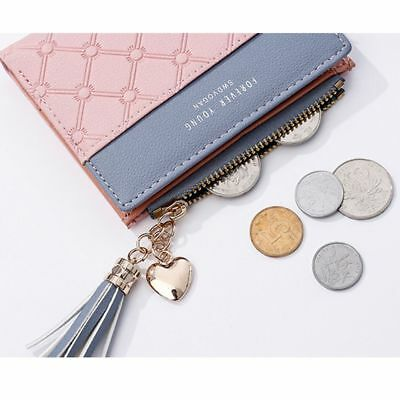 Women's Tassels Wallet Coin Bag Leather Ladies Simple Bifold Small Handbag Purse