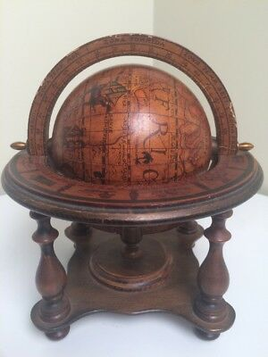 Vintage Old World Wooden World Globe Desk Top Astrology Zodiac Marked