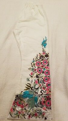 Pakistani / Indian Women off-white trouser pants cotton, embroidery Size M