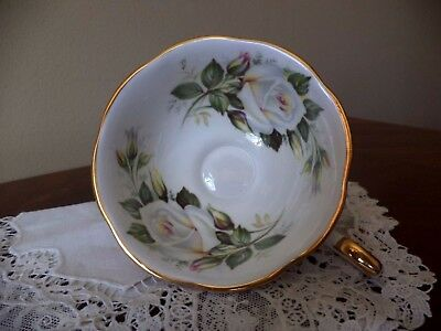 Queens Rosina White Rose Gold Gilt Floral Design Tea Cup