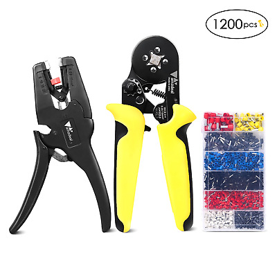 Wire Crimping Tool Kit Crimper With Wire Stripper Adjustable Ratchet Pliers