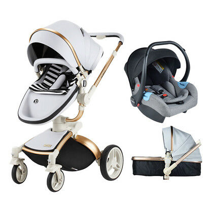 Baby Stroller 3 in 1 travel system Bassinet PU Pushchair &car seat for hot mom