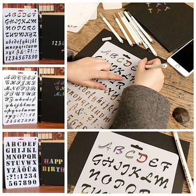 Journal Stationery Painting Template 26 Letters Plastic Stencils Hollow Ruler