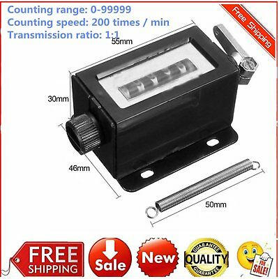 D67-F 5 Digit Manual Stroke Click Counter Mechanical Hand Tally Counting MountP9